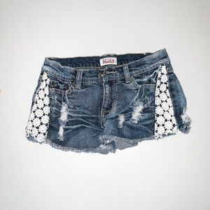Pants - Distressed Lace Jean Shorts